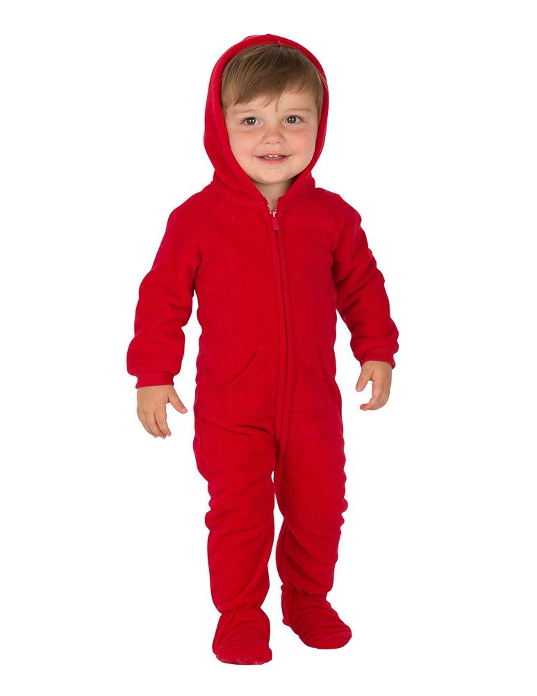 Bright Red Infant Hoodie Fleece Onesie
