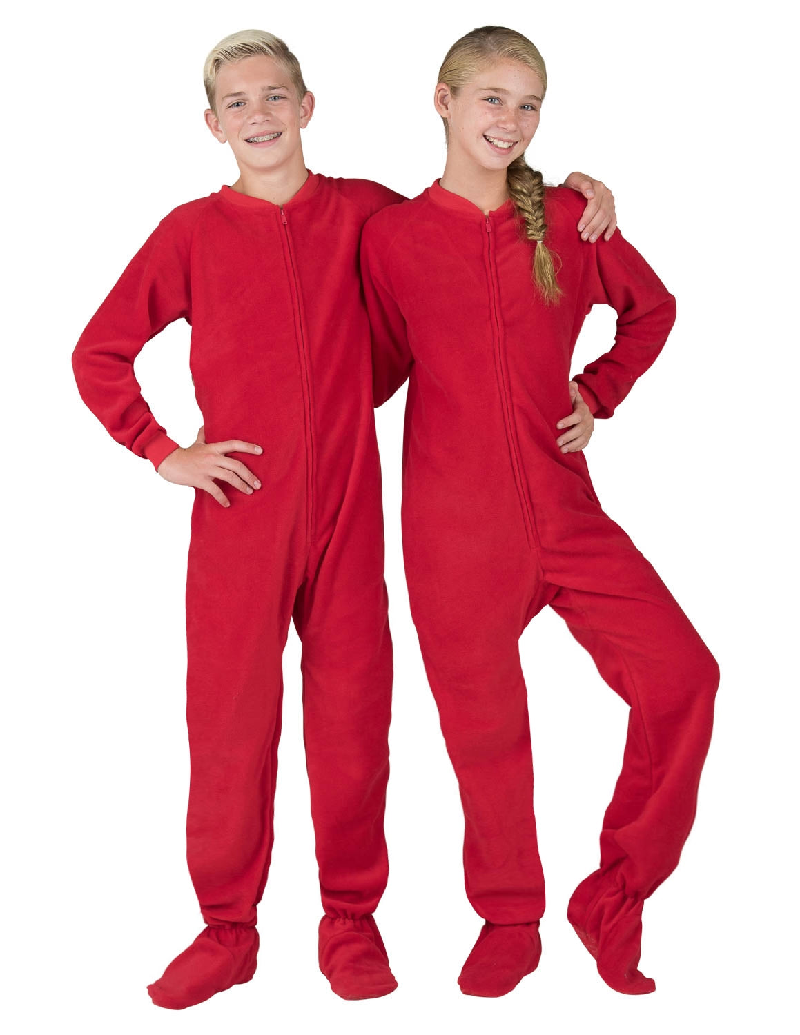 Bright Red Kids Fleece Onesie