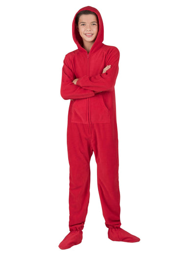 Bright Red Kids Hoodie Fleece Onesie