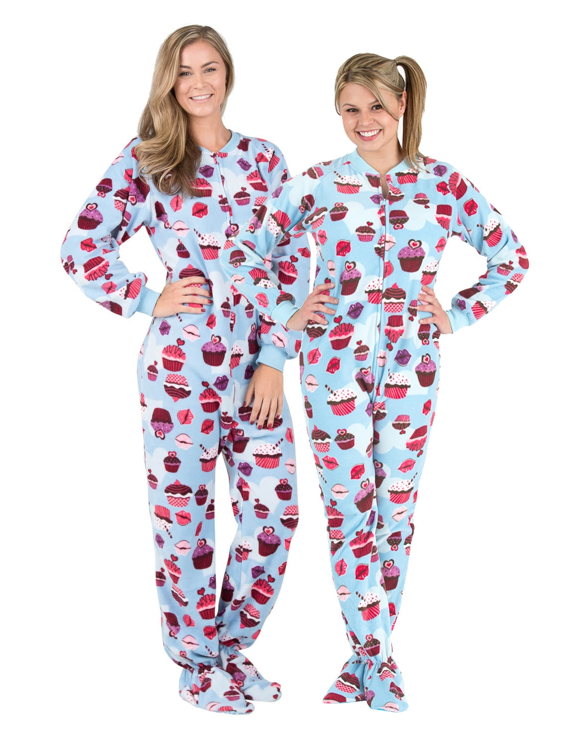 Blue Cupcakes Adult Fleece Onesie