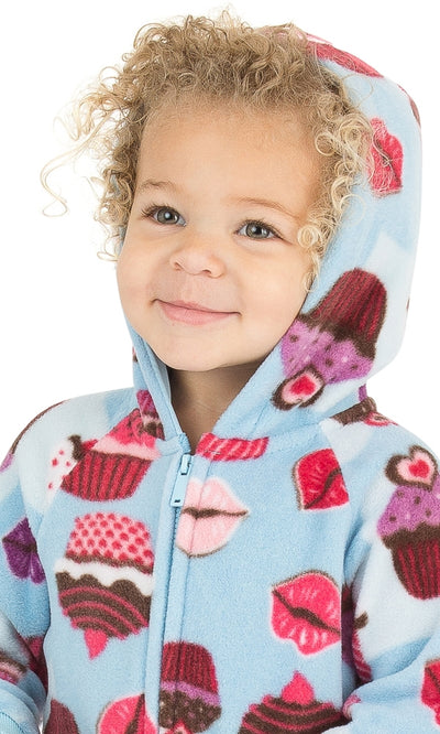 Blue Cupcakes Infant Hoodie Fleece Onesie