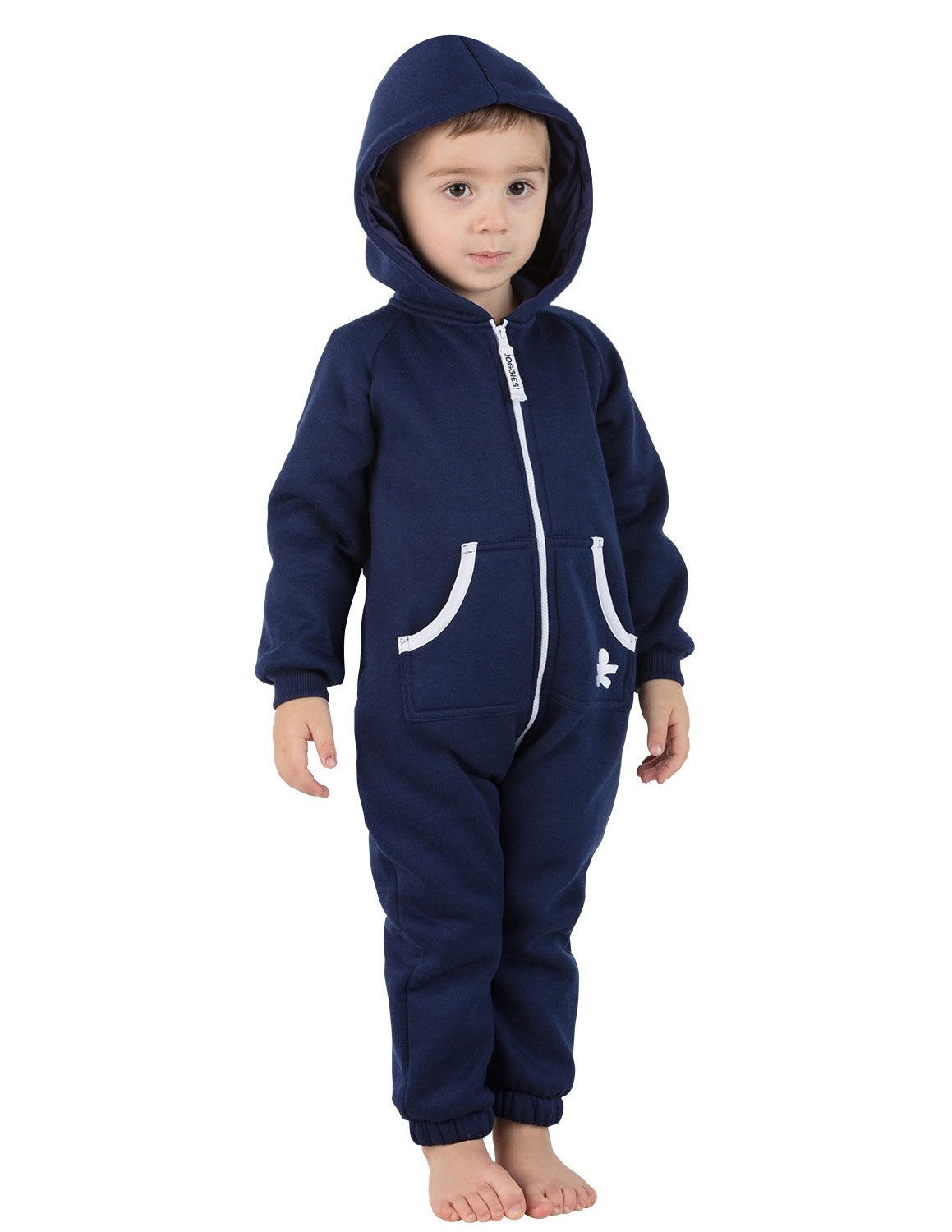 Navy Blue Infant Footless Hoodie Onesie