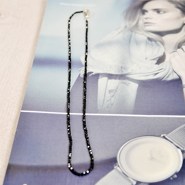 שרשרת אבני שפינל Black Spinel 2mm necklace