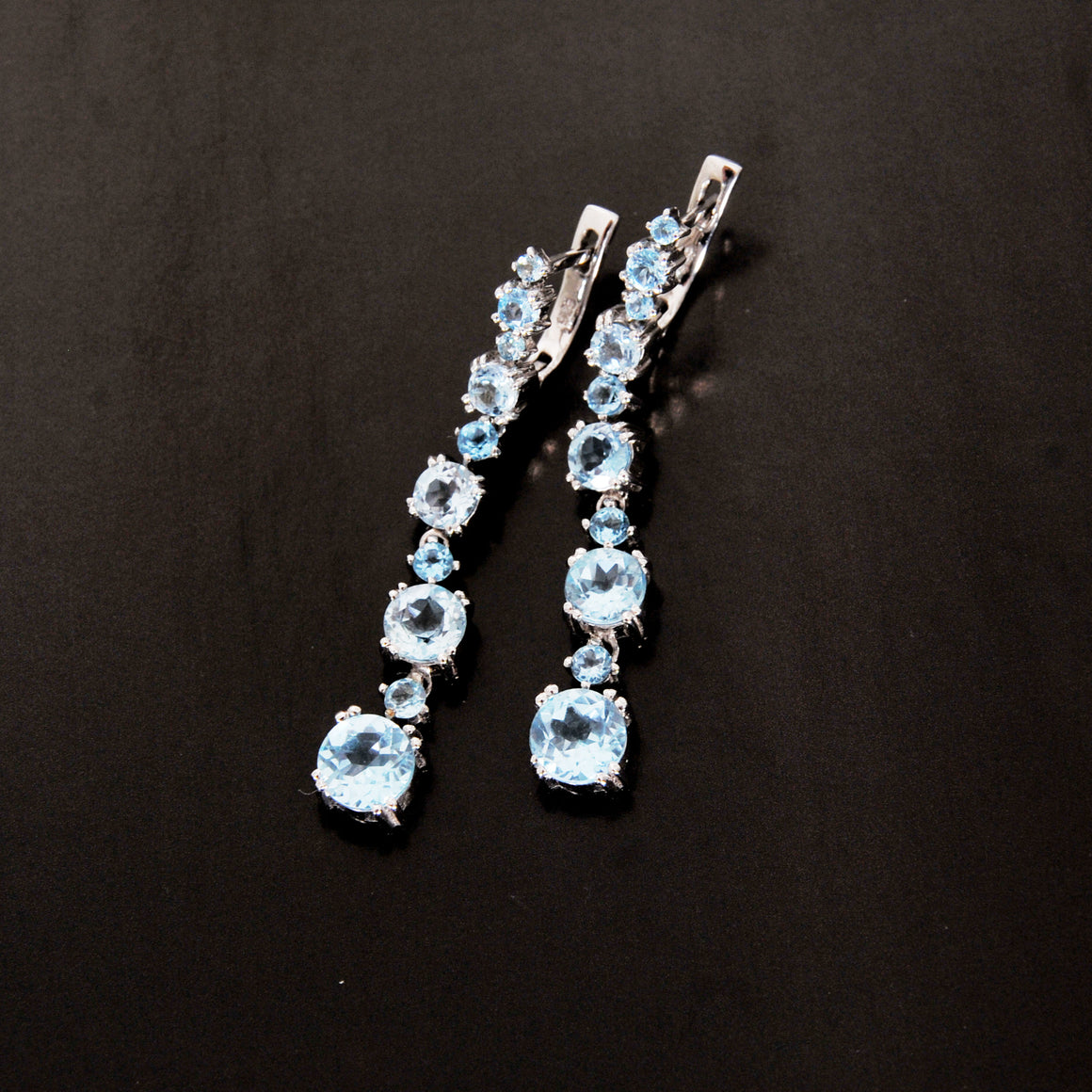 Blue Topaz long earring