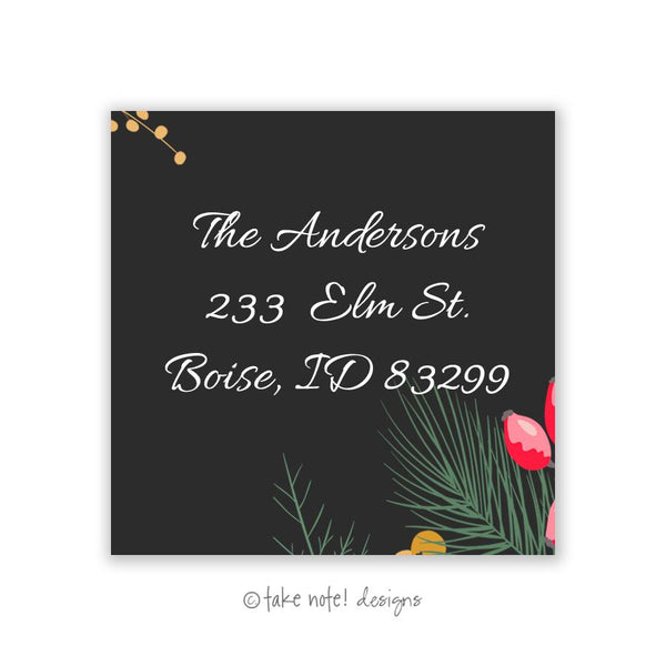 Lovely Christmas Square Address Label