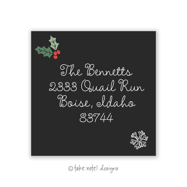 Holly Simplicity Square Address Label