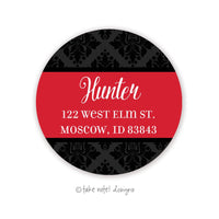 Black Damask Red Wrap Round Address Label