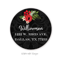 Christmas Floral on Black Round Address Label