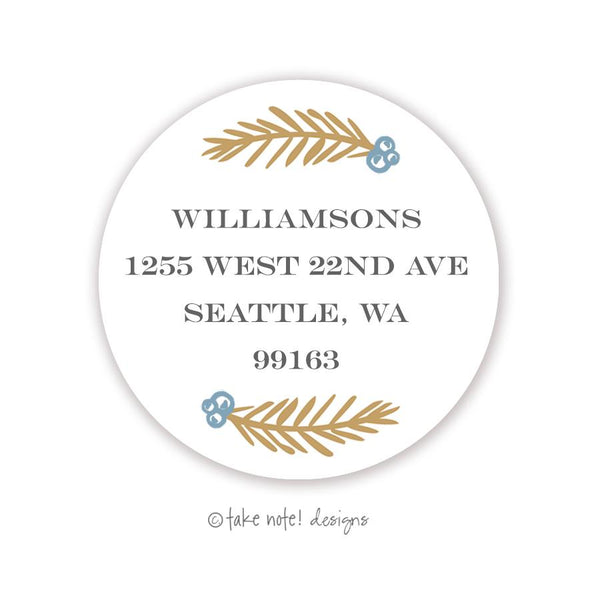 Christmas Berries Accent Blue Round Address Label