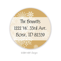 Christmas Snowflake Overlay Gold Round Address Label