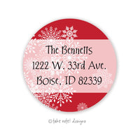 Christmas Snowflake Overlay Red Round Address Label