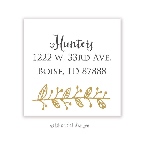 Gold Twig Outline Square Address Label