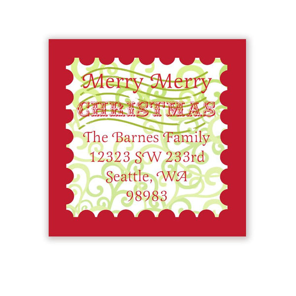 Merry Christmas Stamp Holiday Address Label