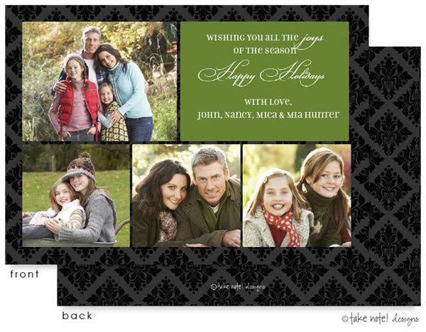 Green Block Damask Flat Photo Card