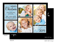 Ice Damask Blocks Holiday Flat Photo Card
