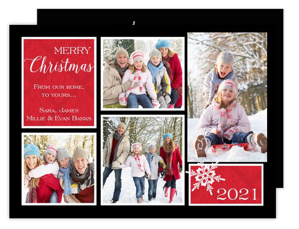 Damask Squares Holiday Photo Card