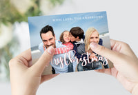 Free Script Overlay Holiday Photo Card