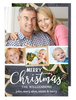 Rustic Ribbon Merry Christmas Multi Holiday Photo Card