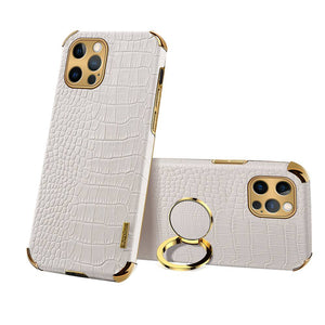 Apple iPhone Crocodile Pattern PU Leather With Holder Protective Cover for iPhone 6 6S 7 8 Plus SE 2020 X XS Max XR 11 12 Pro Max