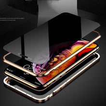 Load image into Gallery viewer, iPhone Anti-peeping Magnetic Double Side Tempered Glass Metal Case Cover - yhsmall