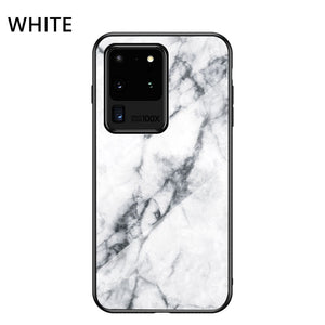 Marble Pattern Samsung Cases Anti-scratch Tempered Glass Protective Cover for Galaxy S9 S10 S10e S20 Plus S20Ultra S20FE Note 8 9 10 20 Ultra - yhsmall