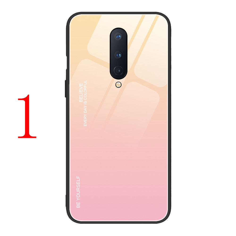 Gradient OnePlus Cases Anti-scratch Tempered Glass Protective Cover for OnePlus 6 6T 7 Pro 7T Pro 8 Pro Nord N10 100