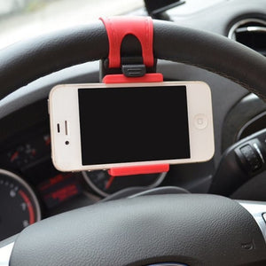 Car Steering Wheel Mount Holder Rubber Band Phone Socket Holder - yhsmall