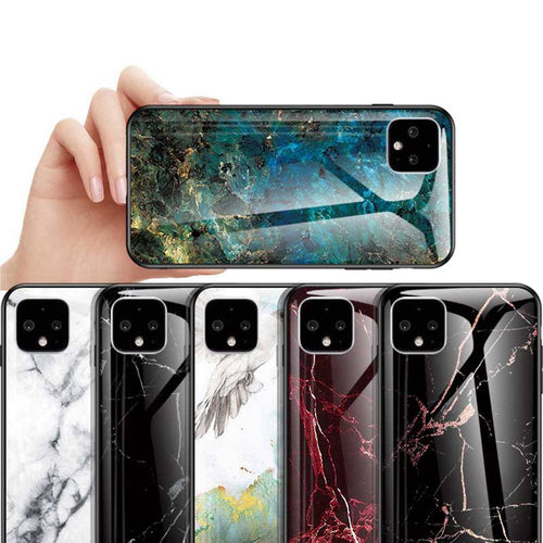 Google Pixel 4 XL Marble Pattern Tempered Glass Hard Case Cover - yhsmall
