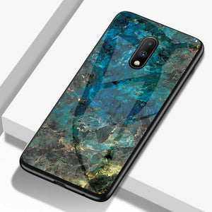 OnePlus Marble Pattern Tempered Glass Hard Case Cover - yhsmall