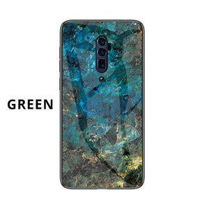 Oppo Marble Pattern Tempered Glass Hard Case Cover - yhsmall