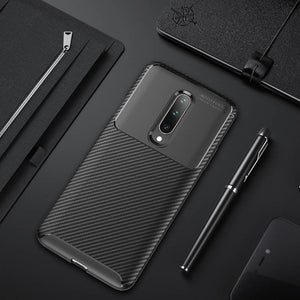 for OnePlus 7 Pro 6 T Cases Carbon Fiber Pattern Soft TPU Case Cover - yhsmall