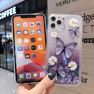 iPhone Butterfly Pattern Cases Quicksand Soft TPU Cover  for Apple SE 2020 6 6S 7 8 Plus X XS MAX XR 11 Pro Max - yhsmall