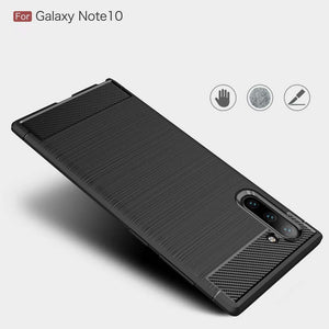 Samsung Galaxy Note 10/Note10Plus Carbon Fiber Brush Pattern Soft Back Case Cover - yhsmall