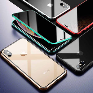 iPhone Anti-peeping Magnetic Double Side Tempered Glass Metal Case Cover - yhsmall