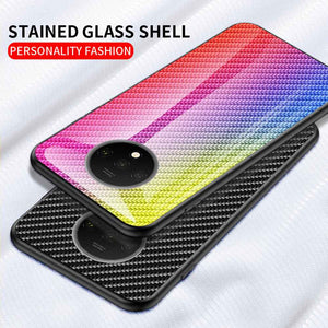 Carbon Fiber Pattern Tempered Glass Case Cover for OnePlus 5 6 7 T Pro - yhsmall
