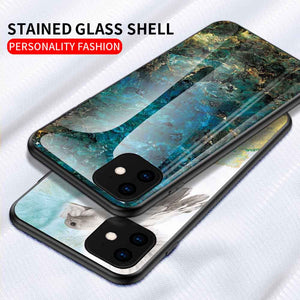 iPhone 11 Pro Max Series Marble Pattern Tempered Glass Hard Case Cover - yhsmall