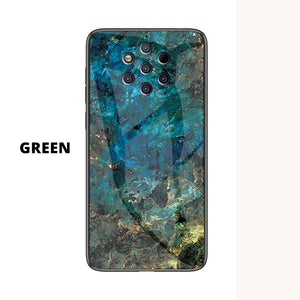 Nokia Marble Pattern Tempered Glass Hard Case Cover - yhsmall