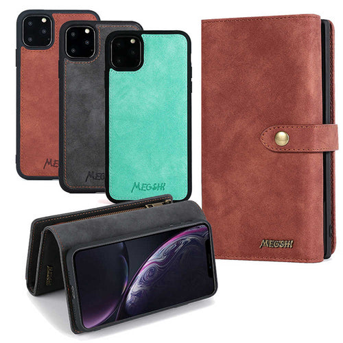 Apple iPhone Leather Wallet Cases Multi-function Magnetic Cover for iPhone 12 11 Pro Max X XS Max XR 8 7 6S 6Plus SE 2020 - yhsmall