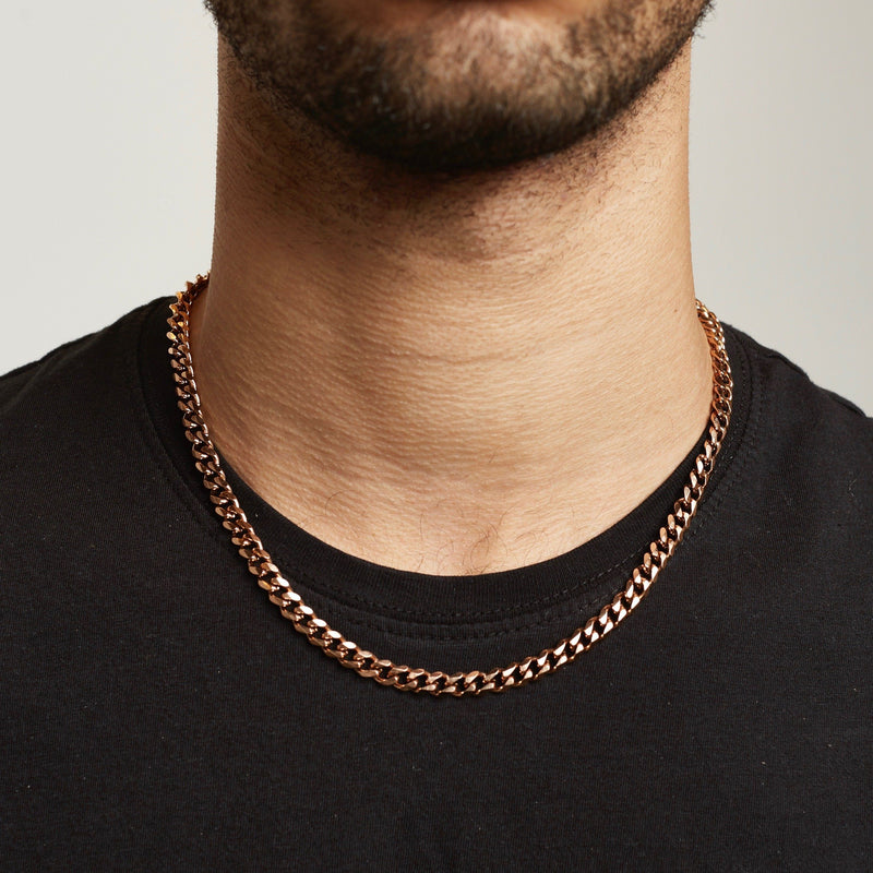 Cuban Chain Sterling Silver - Rose Gold chain Midnight City Jewellery 6mm