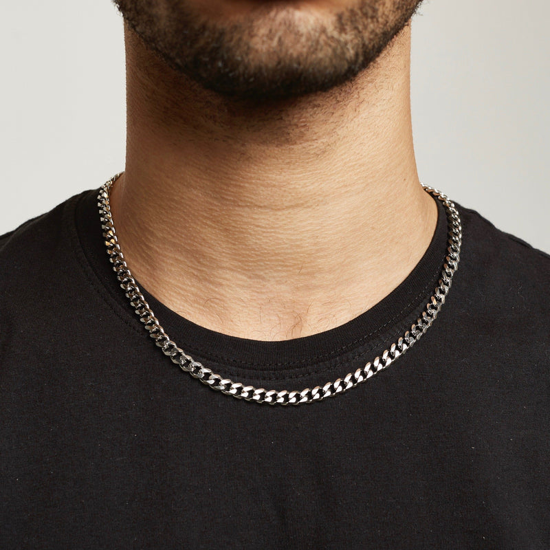 Cuban Chain Sterling Silver - Silver chain Midnight City Jewellery 6mm