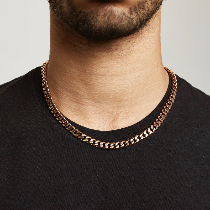 Cuban Chain Sterling Silver - Rose Gold chain Midnight City Jewellery 8mm