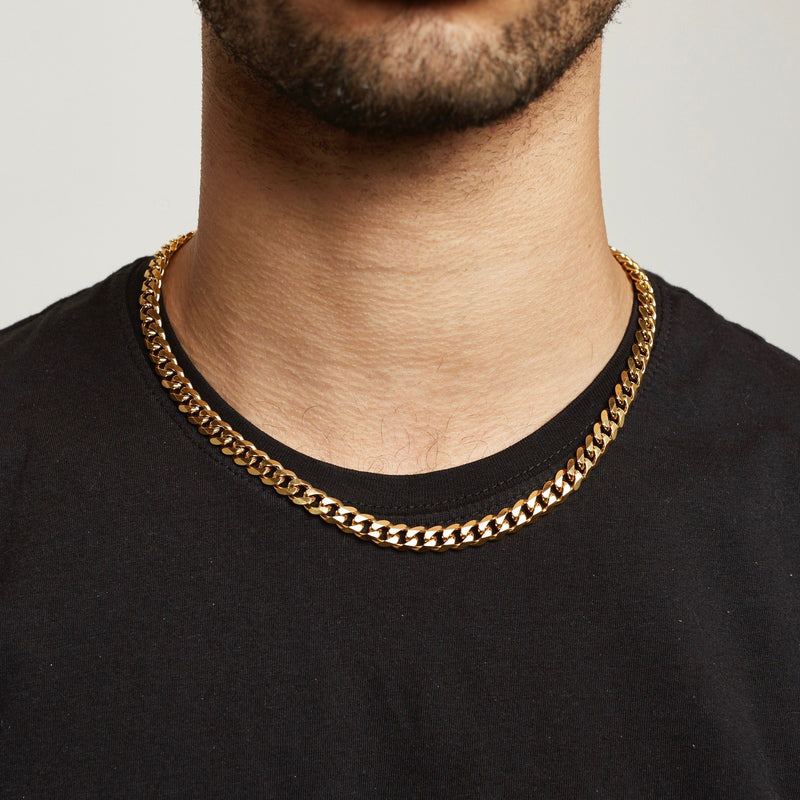 Cuban Chain Sterling Silver - Gold chain Midnight City Jewellery 8mm