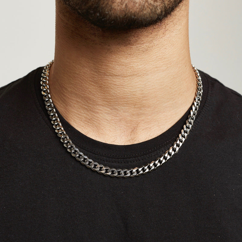 Cuban Chain Sterling Silver - Silver chain Midnight City Jewellery 8mm