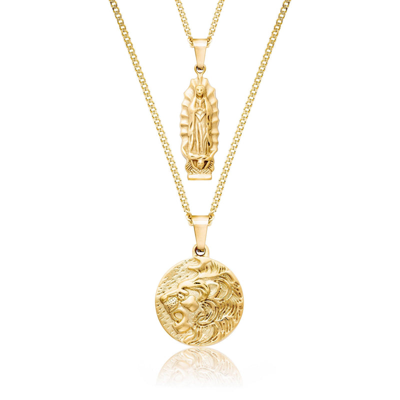 Lion x Mother Mary Gold Necklace Bundle necklace Midnight City Jewellery