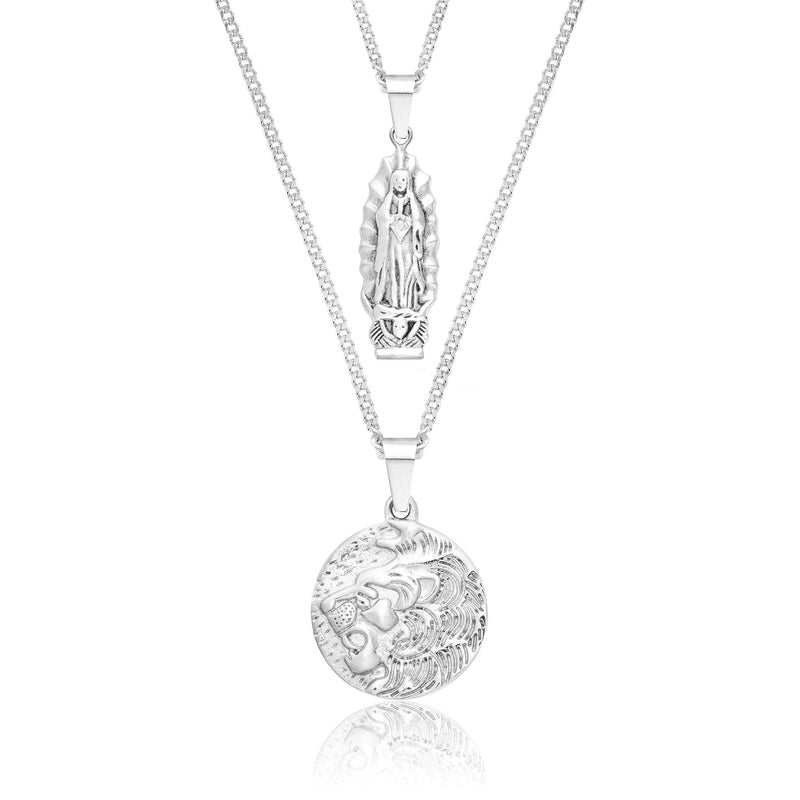 Lion x Mother Mary Silver Necklace Bundle necklace Midnight City Jewellery