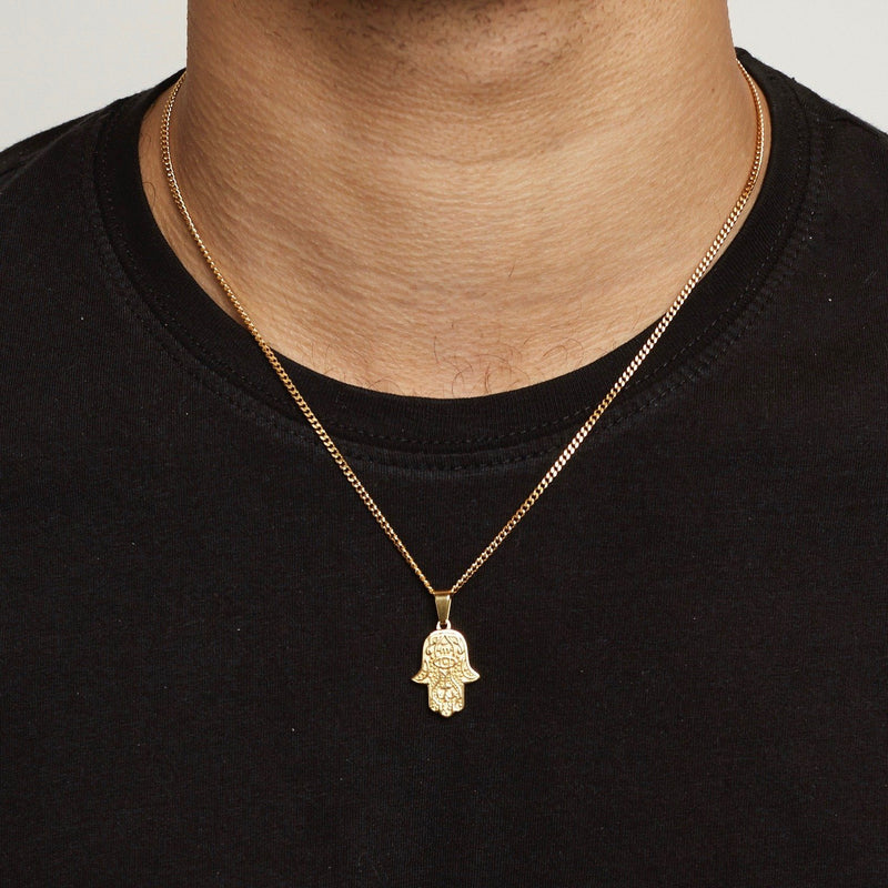 Hamsa Pendant Necklace - Gold necklace Midnight City Jewellery