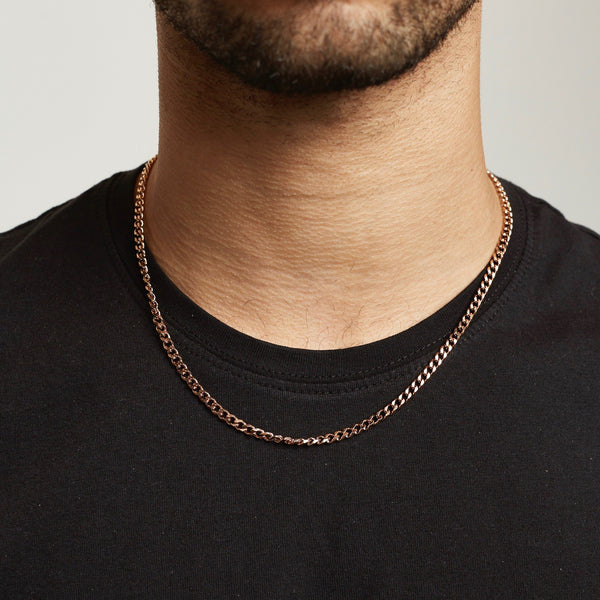 Cuban Chain Sterling Silver - Rose Gold chain Midnight City Jewellery