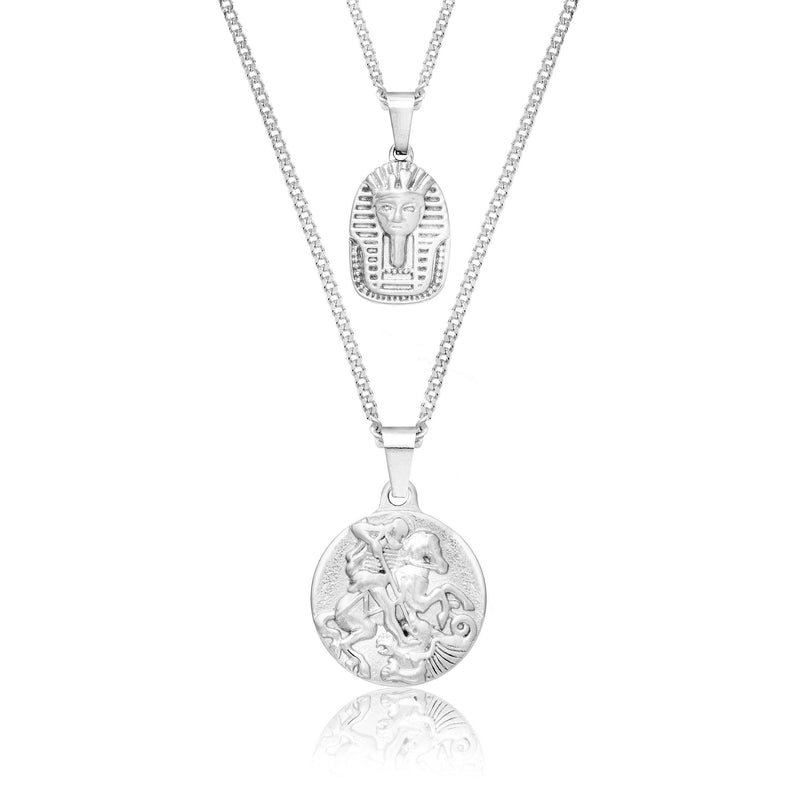 St George x King Tut Silver Necklace Bundle necklace Midnight City Jewellery