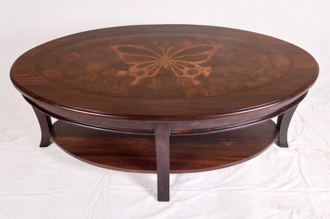Oval Butterfly Inlay Table