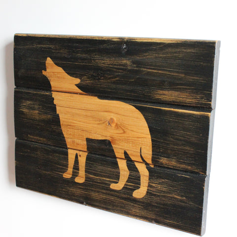 Rustic Handcrafted Wooden Wolf Sign Black